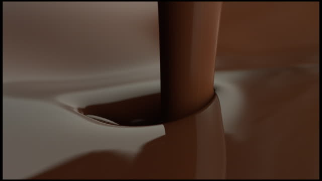 Liquid Chocolate being poured into an surface of Chocolate in movement.