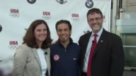 Lisa Baird Apolo Anton Ohno and Jack Pitney at the BMW Group The United States Olympic Committee Announce New Partnership at New York NY