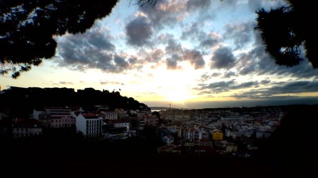 lisbon city in portugal timelapse at sunset at sunrise