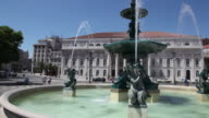 Lisbon, large fountain in the Rossio square (Praca Dom Pedro IV)