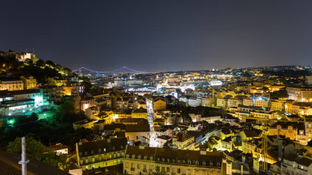 Lisbon, Portugal, cityscape night timelapse