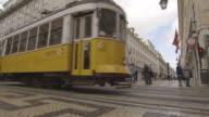 Lisbon Tram Bus through Town