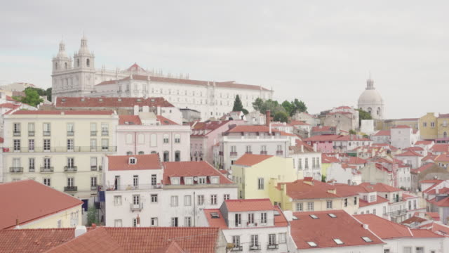Lisbon typical tile rooftops and Sao Vicente monastery on the top of the hill