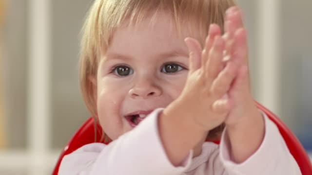 HD: Little Baby Girl Having Fun While Eating