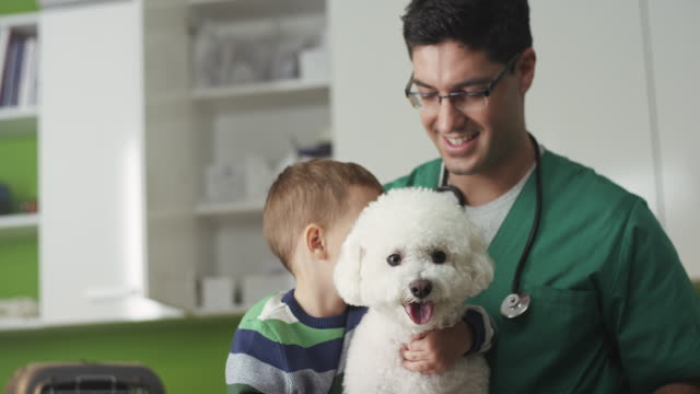 Little boy and his dog at vet