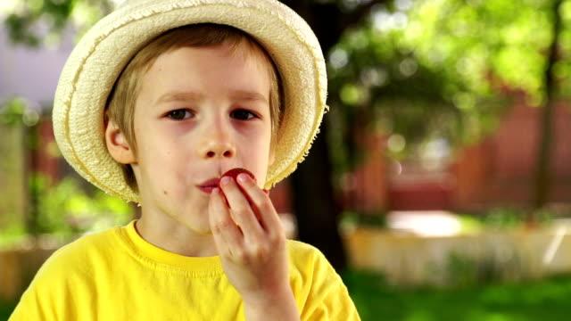 Little boy eating strawberry