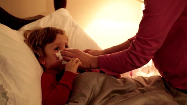Little Boy Sick In Bed