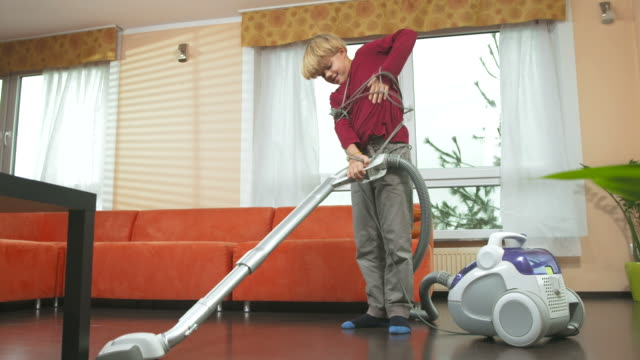 HD DOLLY: Little Boy Tangled In Vacuum Cleaner's Cable