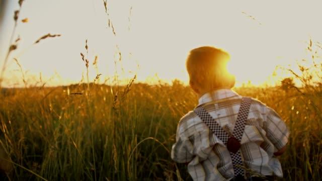 SLO MO Little boy walking in a meadow