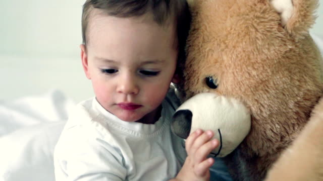 SLOW MOTION -Little Boy with Teddy Bear.