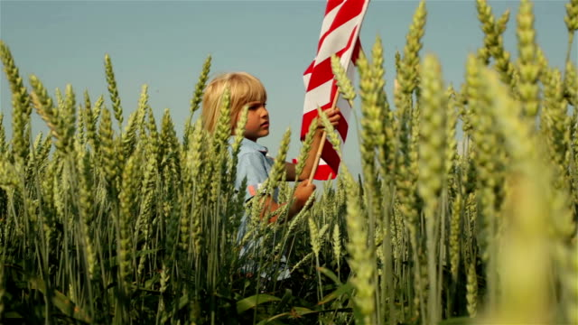 little boy with US Flag