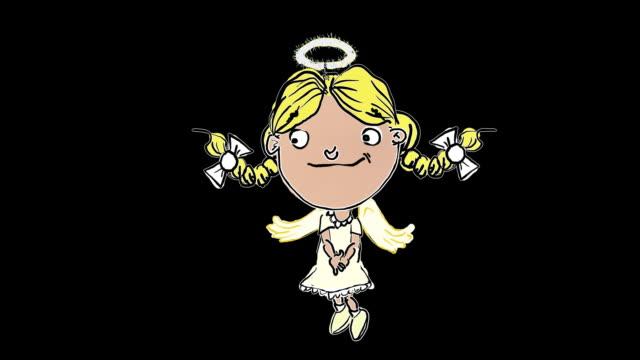 Little cartoon Mädchen angel erscheint und Glasboden