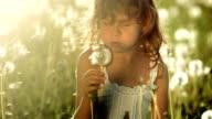 SUPER SLO-MO Little Girl Blowing Dandelion