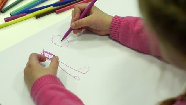 Little girl draws her family