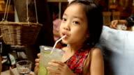Little girl drinking Glass of Lemonade