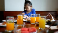 little girl have breakfast