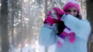 A little girl hit snowball in the camera lens