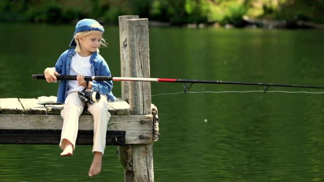 Little Girl on Dock Fishing