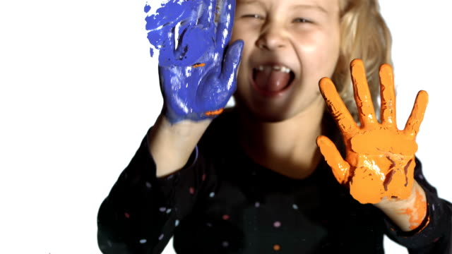 HD: Little Girl Painting With Hands
