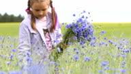 Little girl picking flowers