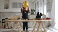4K - Little Girl Renovation Construction Playing Living Room
