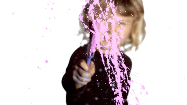 HD: Little Girl Splattering Paint On A Glass