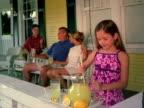 Little girl stirring lemonade