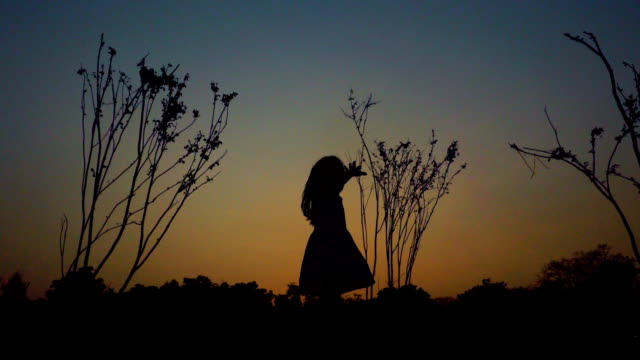 A little girl Twirling at sunset silhouette