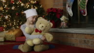 Little girl with leukaemia cancer at Christmas