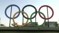 A little over the year before the start of the 2016 Summer Olympics host city Rio de Janeiro inaugurates the five rings symbolising the movement with...
