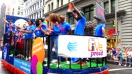 Live Proud ad campaign marches during the Annual New York City Gay Pride Parade / The parade celebrates the Supreme Court decision to legalized...