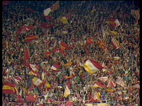 Liverpool fans cheering singing and waving flags in stands Everton vs Liverpool 1986 FA Cup Final Wembley London