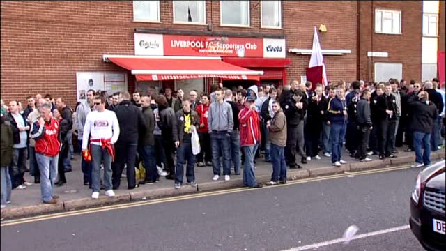 Liverpool fans protest against US owners ENGLAND Merseyside Liverpool Anfield EXT Liverpool supporters demonstrate near Anfield Stadium / fans with...
