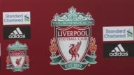 Liverpool FC press conference crest cutaway at Anfield on October 05 2011 in Liverpool England