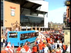 Liverpool FC return after Champions League victory airport arrival/ parade Liverpool Anfield Stadium TGVs Liverpool fans gathered outside stadium...