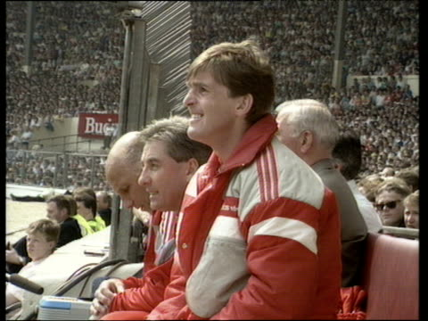 Liverpool manager Kenny Dalglish shouting instructions to team Liverpool vs Wimbledon 1988 FA Cup Final Wembley London