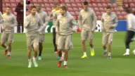 Merseyside Liverpool Anfield EXT Liverpool football team training on pitch including Steven Gerrard and Raheem Sterling / Liverpool Manager Brendan...