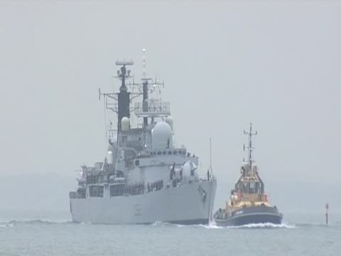 HMS Liverpool returns to its home base in Portsmouth after spending seven months on deployment in Libya