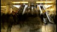 Liverpool Street bridge collapse means chaos for London commuters TX Commuters along on train station concourse up escalators