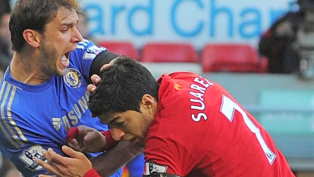 Liverpool striker Luis Suarez found himself in hot water again on Sunday when his bite on Chelsea defender Branislav Ivanovic sparked universal...