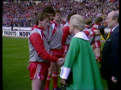 Liverpool team in line to meet Duchess of Kent player manager Kenny Dalglish greets her before captain Alan Hansen introduces her to team Everton vs...