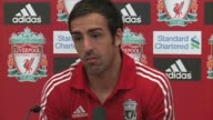 Liverpool's new Spanish left back talks about the threat Andy Carroll and Luis Suarez will pose at Melwood training ground on August 17 2011 in...