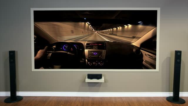 Living Room Home Cinema Displaying a Clip