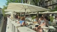 MS PAN Ljubljanica River and outdoor cafe on bank, Ljubljana, Slovenia