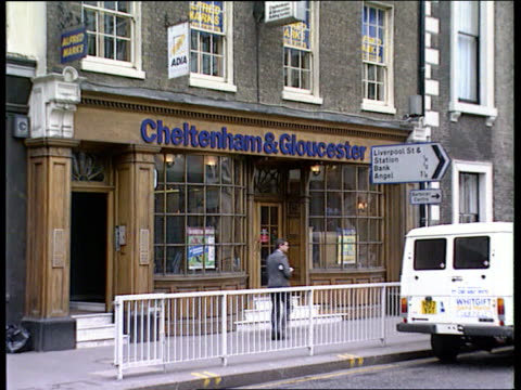 Lloyds bank takeover Cheltenham Gloucester EXT London MS Building Society shop with 'Cheltenham Gloucester on fascia CLA Ditto CLA Clock on wall with...