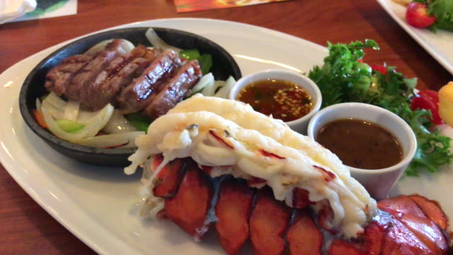 Lobster and Australian beef in luxury food