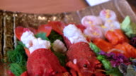 Lobster and salmon sashimi , Japanese style ,Tokyo , Japan