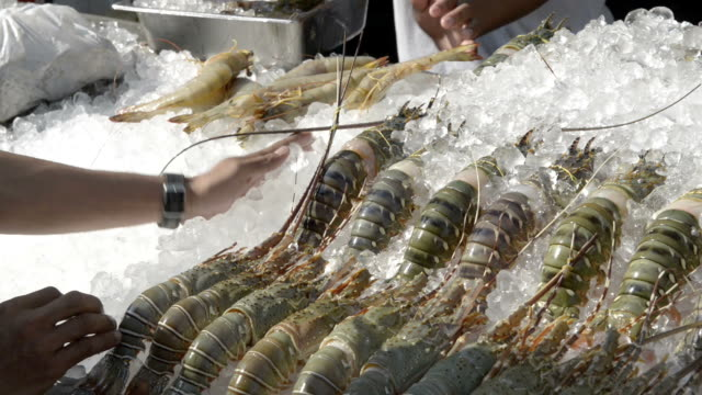 Lobster are served on ice for barbecue