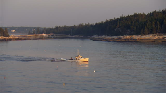 LOW AERIAL, lobster boat in harbor at sunrise, Sprucehead Island, Maine, USA