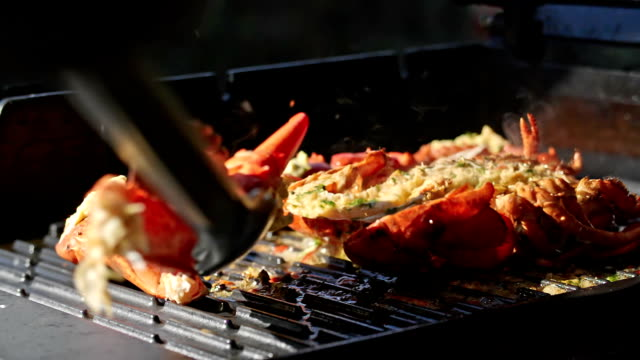 Lobster with Chili Butter on BBQ Grill